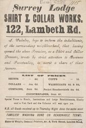 Advert for the Surrey Lodge Laundry Works